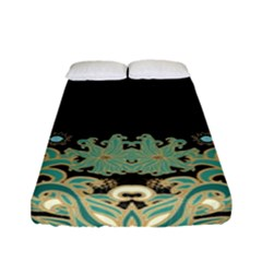 Black,green,gold,art Nouveau,floral,pattern Fitted Sheet (full/ Double Size)
