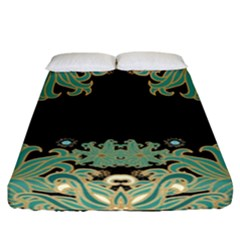 Black,green,gold,art Nouveau,floral,pattern Fitted Sheet (california King Size)