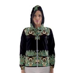 Black,green,gold,art Nouveau,floral,pattern Hooded Wind Breaker (women)