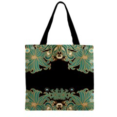 Black,green,gold,art Nouveau,floral,pattern Zipper Grocery Tote Bag