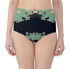 Black,green,gold,art Nouveau,floral,pattern High Waist Bikini Bottoms