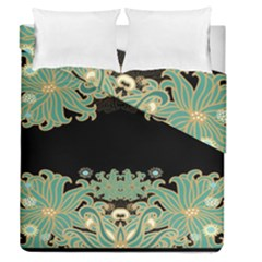 Black,green,gold,art Nouveau,floral,pattern Duvet Cover Double Side (queen Size)