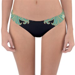 Black,green,gold,art Nouveau,floral,pattern Reversible Hipster Bikini Bottoms