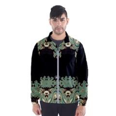 Black,green,gold,art Nouveau,floral,pattern Wind Breaker (men)