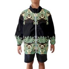 Black,green,gold,art Nouveau,floral,pattern Wind Breaker (kids)