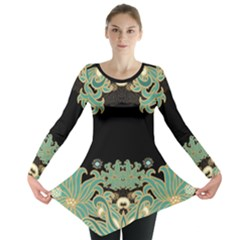 Black,green,gold,art Nouveau,floral,pattern Long Sleeve Tunic