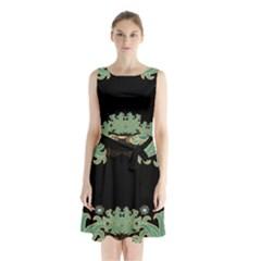 Black,green,gold,art Nouveau,floral,pattern Sleeveless Waist Tie Chiffon Dress