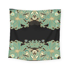 Black,green,gold,art Nouveau,floral,pattern Square Tapestry (small)