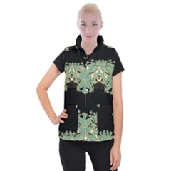 Black,green,gold,art Nouveau,floral,pattern Women s Button Up Puffer Vest