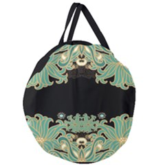 Black,green,gold,art Nouveau,floral,pattern Giant Round Zipper Tote
