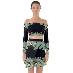 Black,green,gold,art Nouveau,floral,pattern Off Shoulder Top With Skirt Set