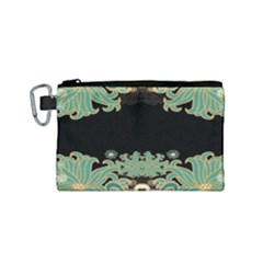 Black,green,gold,art Nouveau,floral,pattern Canvas Cosmetic Bag (small)