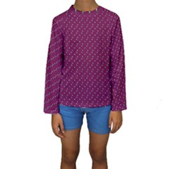 Pink Flowers Magenta Kids  Long Sleeve Swimwear