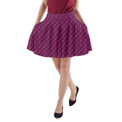 Pink Flowers Magenta A Line Pocket Skirt