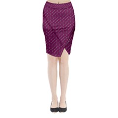 Pink Flowers Magenta Midi Wrap Pencil Skirt