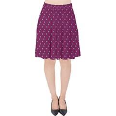 Pink Flowers Magenta Velvet High Waist Skirt