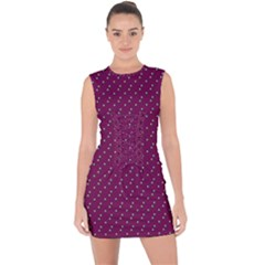 Pink Flowers Magenta Lace Up Front Bodycon Dress