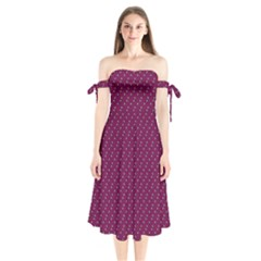 Pink Flowers Magenta Shoulder Tie Bardot Midi Dress