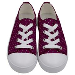 Pink Flowers Magenta Kids  Low Top Canvas Sneakers
