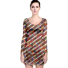 Mosaic Pattern Quilt Pattern Long Sleeve Bodycon Dress