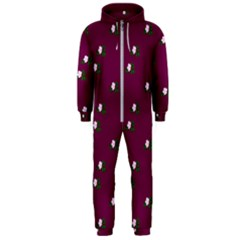 Pink Flowers Magenta Big Hooded Jumpsuit (men)