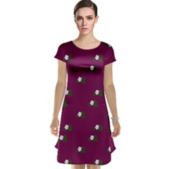 Pink Flowers Magenta Big Cap Sleeve Nightdress