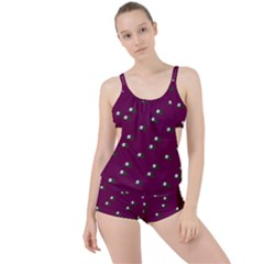 Pink Flowers Magenta Big Boyleg Tankini Set