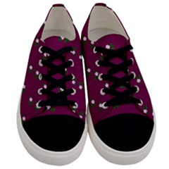 Pink Flowers Magenta Big Men s Low Top Canvas Sneakers