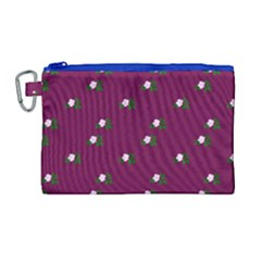 Pink Flowers Magenta Big Canvas Cosmetic Bag (large)