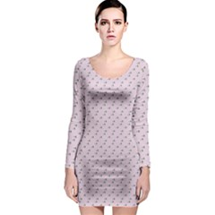 Pink Flowers Pink Long Sleeve Bodycon Dress