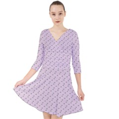 Pink Flowers Pink Quarter Sleeve Front Wrap Dress