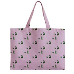Pink Flowers Pink Big Zipper Mini Tote Bag