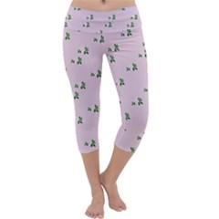 Pink Flowers Pink Big Capri Yoga Leggings