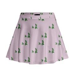 Pink Flowers Pink Big Mini Flare Skirt