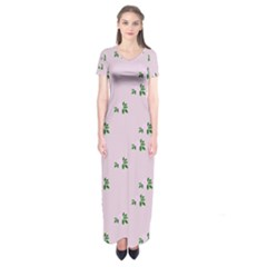 Pink Flowers Pink Big Short Sleeve Maxi Dress