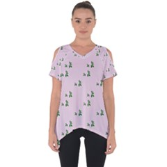 Pink Flowers Pink Big Cut Out Side Drop Tee