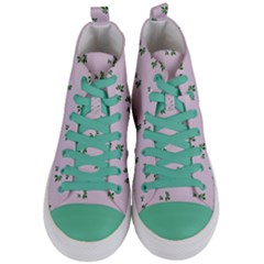 Pink Flowers Pink Big Women s Mid Top Canvas Sneakers