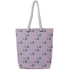 Pink Flowers Pink Big Full Print Rope Handle Tote (small)