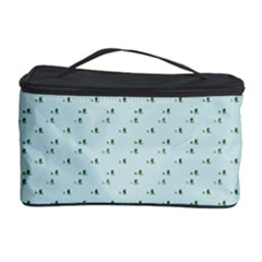 Pink Flowers Blue Cosmetic Storage Case