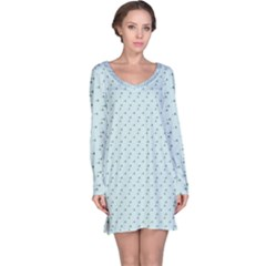 Pink Flowers Blue Long Sleeve Nightdress