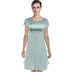 Pink Flowers Blue Cap Sleeve Nightdress