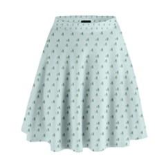 Pink Flowers Blue High Waist Skirt