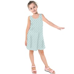 Pink Flowers Blue Kids  Sleeveless Dress