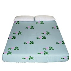 Pink Flowers Blue Big Fitted Sheet (king Size)