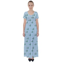 Pink Flowers Blue Big High Waist Short Sleeve Maxi Dress
