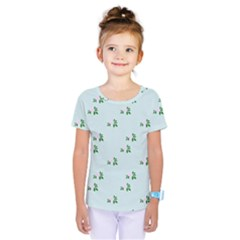 Pink Flowers Blue Big Kids  One Piece Tee