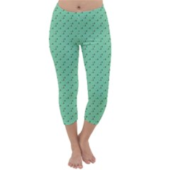 Pink Flowers Green Capri Winter Leggings