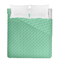 Pink Flowers Green Duvet Cover Double Side (full/ Double Size)