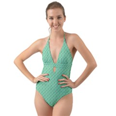 Pink Flowers Green Halter Cut Out One Piece Swimsuit