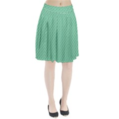 Pink Flowers Green Pleated Skirt